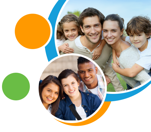 A collage of colorful circles and photos of a family and youth friends