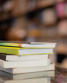 A stack of books in a library setting